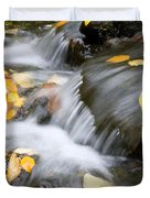 Fall Leaves In Rushing Water Duvet Cover by Craig Tuttle