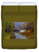 Falls Fishing Duvet Cover by Mark Papke