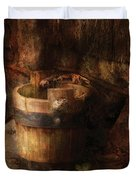 Farm - Pail - An old pail Duvet Cover by Mike Savad