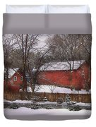 Farm - Barn - Winter In The Country  Duvet Cover by Mike Savad