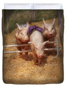 Farm - Pig - Getting Past Hurdles Duvet Cover by Mike Savad