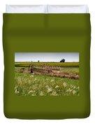Farm Work Wiind And Rain Duvet Cover by Douglas Barnett