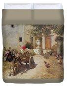 Farm Yard Scene Duvet Cover by Henry Herbert La Thangue