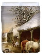 Farmyard in Winter  Duvet Cover by Henry Woollett