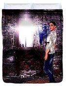 Fashion Model In Jeans  Duvet Cover by Milan Karadzic
