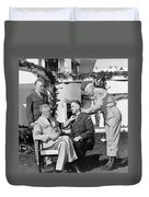 Fdr Presenting Medal Of Honor To William Wilbur Duvet Cover by War Is Hell Store