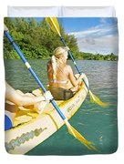 Female Kayakers Duvet Cover by Kicka Witte - Printscapes