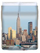 Fire Boat And Manhattan Skyline IIi  Duvet Cover by Clarence Holmes