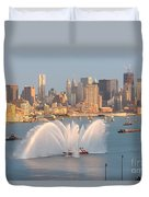 Fire Boat And Manhattan Skyline Iv Duvet Cover by Clarence Holmes