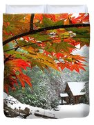 Fire Fog And Snowy Fence Duvet Cover by Debra and Dave Vanderlaan