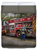 Firemen - The Modern Fire Truck Duvet Cover by Mike Savad