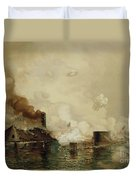 First Fight Between Ironclads Duvet Cover by Julian Oliver Davidson