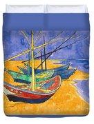 Fishing Boats On The Beach At Saintes Maries De La Mer Duvet Cover by Vincent Van Gogh