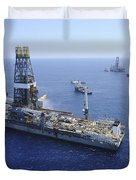 Flaring Operations Conducted Duvet Cover by Stocktrek Images