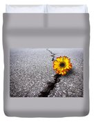Flower In Asphalt Duvet Cover by Carlos Caetano