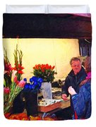 Flower Stand on Stockton and Geary Street . Photoart Duvet Cover by Wingsdomain Art and Photography