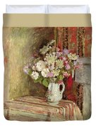 Flowers In A Vase Duvet Cover by Edouard Vuillard