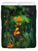 Flowers In The Woods At The Haciendia Duvet Cover by David Lane
