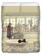 Flowers On The Windowsill Duvet Cover by Carl Larsson