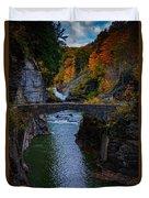 Footbridge At Lower Falls Duvet Cover by Rick Berk