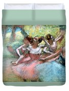 Four Ballerinas On The Stage Duvet Cover by Edgar Degas