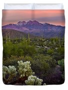 Four Peaks Sunset Duvet Cover by Dave Dilli