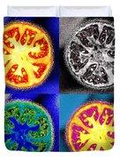 Four Tomatoes Duvet Cover by Nancy Mueller