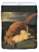 Fox And Hare Duvet Cover by Johann Baptist Hofner