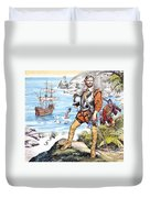 Francis Drake And The Golden Hind Duvet Cover by Ron Embleton