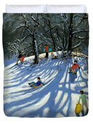 Fun In The Snow Duvet Cover by Andrew Macara