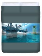 Futuristic Skyway Duvet Cover by Corey Ford