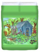 Garden Potting Shed Duvet Cover by Cathie Richardson