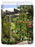 Garden with roses Duvet Cover by Elena Elisseeva