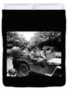 General Eisenhower In A Jeep Duvet Cover by War Is Hell Store