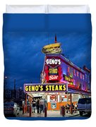 Geno's Steaks South Philly Duvet Cover by John Greim