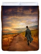 Gentleman Walking On Rural Road Duvet Cover by Jill Battaglia
