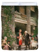 George Washington at Bartrams Garden Duvet Cover by Jean Leon Jerome Ferris