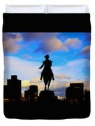 George Washington Statue Sunset - Boston Duvet Cover by Joann Vitali
