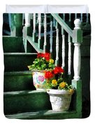 Geraniums And Pansies On Steps Duvet Cover by Susan Savad