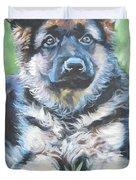 German Shepherd Puppy Duvet Cover by Lee Ann Shepard