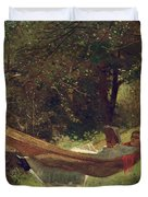 Girl in the Hammock Duvet Cover by Winslow Homer