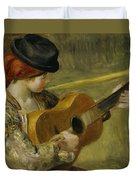 Girl With A Guitar Duvet Cover by Pierre Auguste Renoir