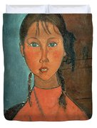 Girl with Pigtails Duvet Cover by Amedeo Modigliani