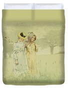 Girls Strolling In An Orchard Duvet Cover by Winslow Homer
