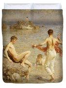 Gleaming Waters Duvet Cover by Henry Scott Tuke