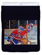 Goalie Makes The Save Stanley Cup Playoffs Duvet Cover by Carole Spandau