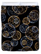 Gold And Blue Abstract Circles Duvet Cover by Frank Tschakert