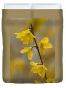 Golden Forsythia Duvet Cover by Kathy Clark
