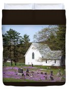 Graveyard Phlox Country Church Duvet Cover by John Stephens