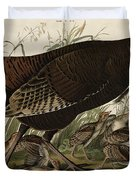 Great American Hen and Young Duvet Cover by John James Audubon